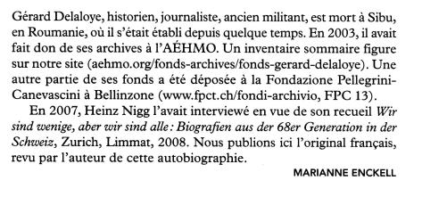 Hommage à Gérard Delaloye Autobiografia
